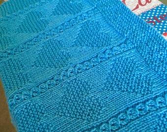 Stripy Heart Blanket, Knitting Pattern, PDF, Instant Download