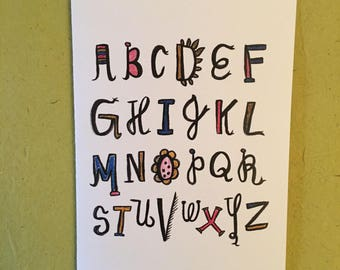 Hand lettered // Inspirational // Goody greeting card // Playful Alphabet
