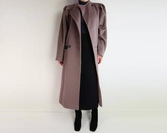 VINTAGE Coat 1980s Mauve Wool Leather New Wave Medium