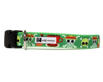 1 Inch Wide Dog Collar with Adjustable Buckle or Martingale in Green Skulls