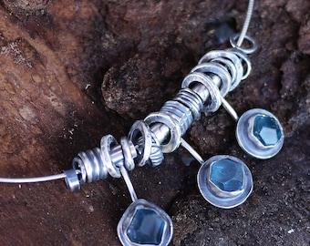 Fluorite Necklace, Blue Gemstone Choker, Turquoise Necklace, Rustic Silver Necklace, Aqua Necklace, Rustic Necklace, Statement Necklace
