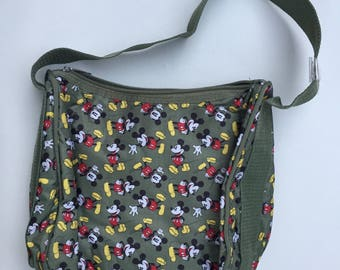 Vintage Mickey Mouse All Over Print Shoulder Purse Matching Coin Purse Disney Olive