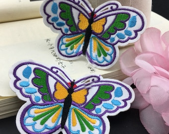 10pcs 8.5x5.5cm wide blue butterflies pocket embroidered appliques patches wq4f3 free ship