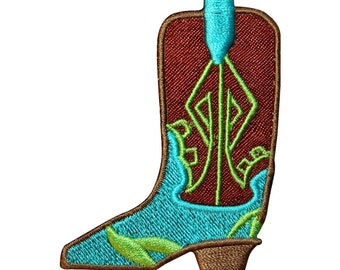 ID 9072A Fancy Cowboy Boot Patch Western Wear Shoe Embroidered Iron On Applique