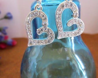 Pretty Rhinestone Heart Dangle Earrings