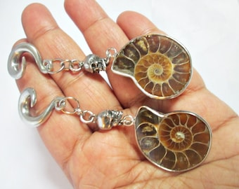 Ammonite ear weights, skull ear weights,fossil ear weights,drop ear weights,dangle ear hanger,guage earring