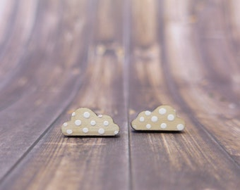 Cloud Earrings. Wooden Maple Studs. Gifts for Her.