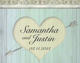 Wedding Labels Personalized Rustic Woodgrain and Heart Square Glossy Stickers for Favors, Envelope Seals, Address Labels and more