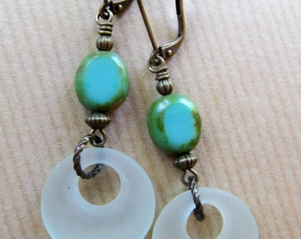 Seafoam Green Sea Glass and Czech Glass Beaded Dangle Antiqued Brass Earrings