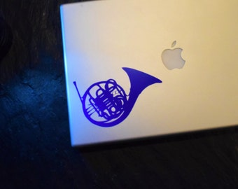 Blue French Horn Vinyl Decal Sticker HIMYM How I Met Your Mother - Robin and Ted - Blue Decal - Laptop Decal - Car Decal