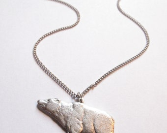 Bear Necklace - Silver // Animal Charm Necklace