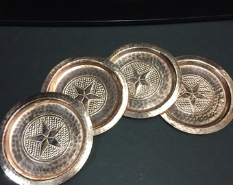 Set of 4 Hammered Copper Coasters w/ Texas Star logo