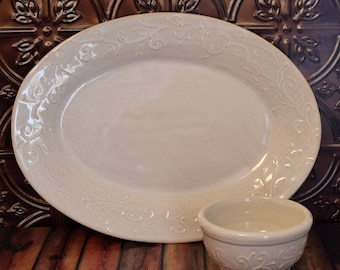 Oval White Pottery Serving Platter with Condiment Bowl, Ceramic Tray, White on White Serveware, Oval Platter, Handmade Serving Tray