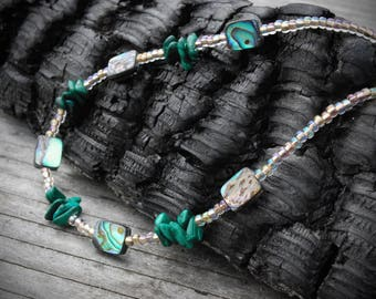 Abalone necklace, layering necklace, malachite necklace, boho jewelry Abalone necklace. Malachite necklace. Beach jewelry. Shell necklace.