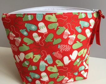 Christmas mittens knitting project bag small