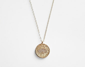 Pave Evil Eye Coin Necklace   14k gold filled, disc necklace,round circle necklace,gold coin necklace,layering necklace,evil eye jewelry