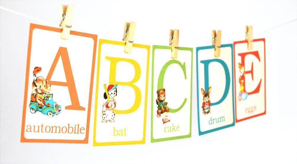 Digital whimsical retro animal ABC flash cards / alphabet