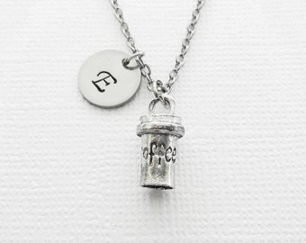 Coffee Mug Necklace, Coffee Jewelry, To Go Coffee, BFF Best Friend Gift, Silver Jewelry, Personalized, Monogram, Hand Stamped,Letter Initial