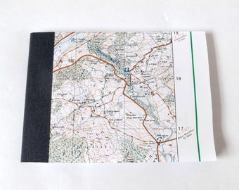 Caerynwch - Snowdonia (Dolgellau) Map 1984 #10 - Recycled Vintage Map Handbound Pocket Notebook with Upcycled Blank Pages
