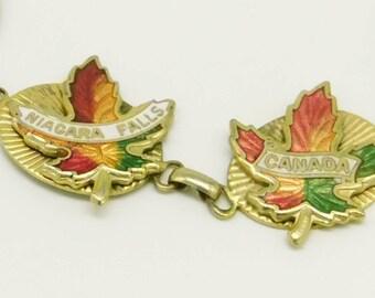 Vintage Niagra Falls and Canada Maple Leaf Bracelet