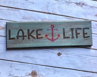 Lake life wood sign, lake house decor, house warming gift, beach, tiki bar, cabin, lake home decor, summer home decor, island living, wall