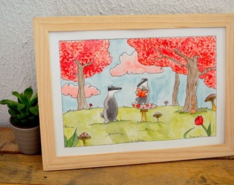 """Hector and Felicien Badgers"" watercolor illustration - kids room Decoration"
