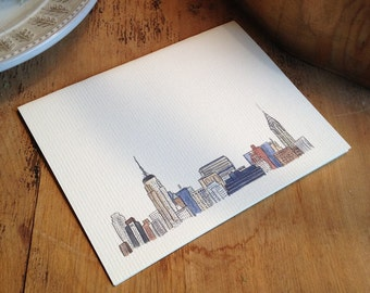Watercolor Vintage New York City Skyline, Luxury Print in 5 x 7, 8 x 10, or 11 x 14 inches