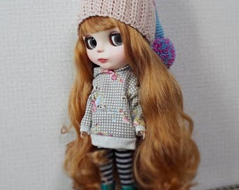"""12"""" blythe doll hat ear flap knitted tail pompom"""