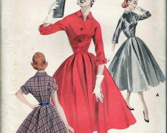 "Vintage 1956 Butterick 7945 Softly Tailored Dress Sewing Pattern Size 14 Bust 34"" UNCUT"