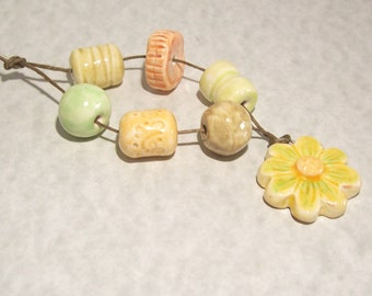 Ceramic Look Polymer Clay Flower Focal Set of Loose Beads