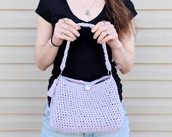 Purple Handbag, Purple Bag, Purple Purse Handbag, Crochet Handbag, Fashion Handbags, Purple Evening Bag, Small Shoulder Bag, Stylish Purse