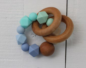 Indie & Chic Teething Rattles - Silicone Beads - Chew Beads - Wooden Rattle Baby - Wood Teething Toy - Spring Collection - Blue Ombre