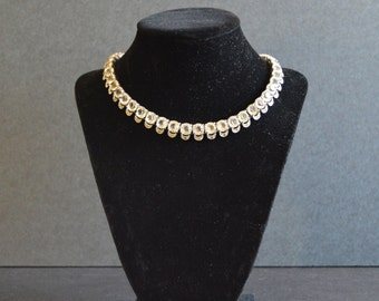 SALE -Vintage Clear Rhinestone Necklace {Bridal Jewelry White Diamante Collar Crystal 1960's 60's 1960s Round Cut}