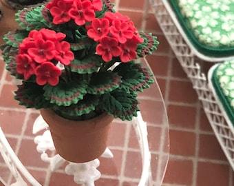 Miniature Geranium in Clay Pot, Mini Flowers #07, Dollhouse Miniature, 1:12 Scale, Dollhouse Accessory, Home & Garden Decor, Crafts, Topper