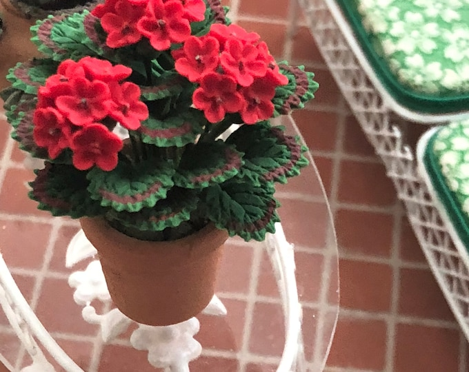 Featured listing image: Miniature Geranium in Clay Pot, Mini Flowers #07, Dollhouse Miniature, 1:12 Scale, Dollhouse Accessory, Home & Garden Decor, Crafts, Topper