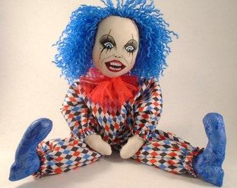 Creepy Clown Doll, Gothic Doll, Cloth Art Doll, Gothic decor, Gothic gift, art doll, Horror doll, quirky gift, unique, handmade art doll