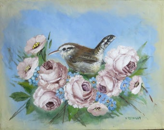 Bird with Roses Painting, Bird Art, Wildlife Painting, Original Acrylic Painting, Bewick's Wren