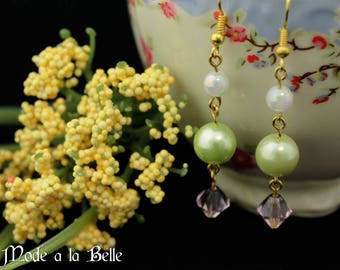 Green Pearl, Pink Bicone, White Irredescent Dangle w/gold accent