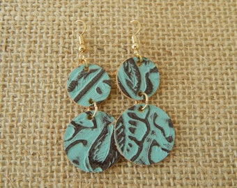 Turquoise and brown leather embossed earrings, beach boho earrings, organic jewelry, summer fashion, southwest, festival chic