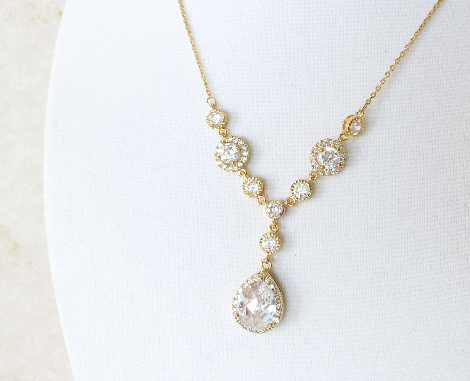 Much Too Much Sequin Chain Pendant Crystal Teardrop Clear