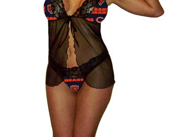 Chicago Bears Lace Babydoll Negligee Lingerie Teddy Set with Matching G-String Panty - Size Medium - Ready to Ship