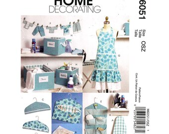 Apron Pattern McCalls 6051 Fabric Baskets, Ironing Board & Hanger Cover, Clothespin Holder, Banner, Scissor Caddy Decor Sewing Pattern UNCUT
