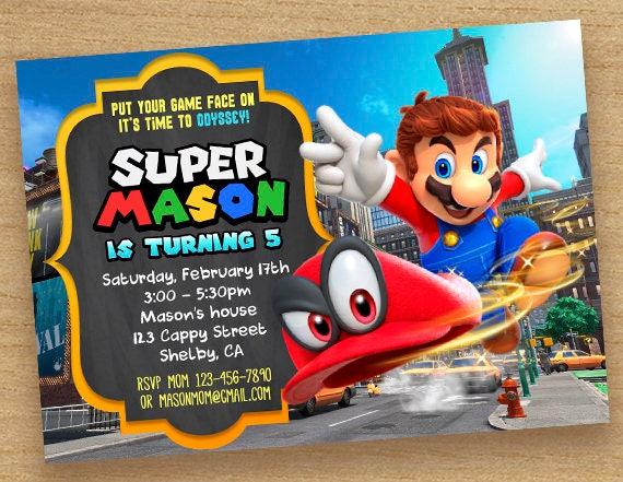 Super Mario Invitationmario Invite Party Super Mario