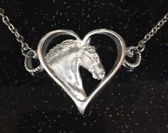 Horse necklace, Gypsy Horse Fancy Heart choker style necklace