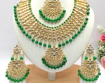 Handmade kundan Necklace Set with Earrings Indian Wedding Jewelry Indian jewelry Bollywood jewelry