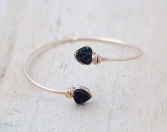 Druzy Geometric Bracelet , Bezel Wrapped Bangle in 14k Gold Fill ,  Black Triangle Druzy Wrap Style ,  Modern Fashion -  Eclipse