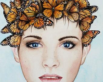 "An ""Animagnus"" - Monarch butterfly - Art Watercolor giclee 8x10 print"