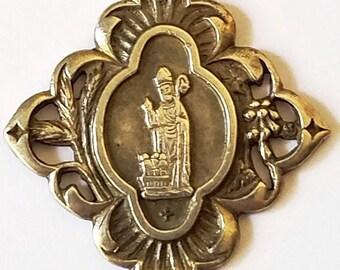 Antique St Nicolas médaille pendentif Art Nouveau période Français pèlerinage Souvenir en argent