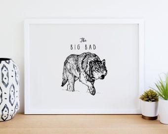 The Big Bad Wolf Print, Printable Art, Decor, Digital File, Nursery Decor, Home Decor, Kids Room Art, Wolf Art