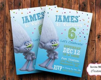 Trolls Movie Invitation 2016. Trolls Invitation, Trolls Birthday Party Invite, Trolls Birthday Invitation, Poppy, Branch Invite, Diamond